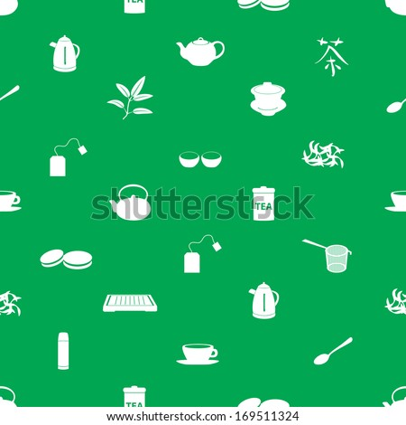 tea icons pattern eps10 - stock vector