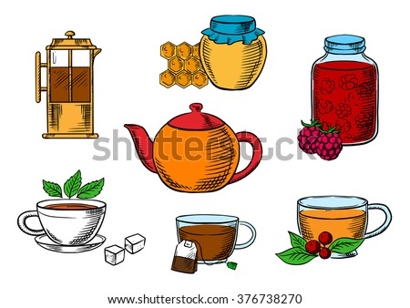 Tea icons with jars, honey and raspberry jam desserts, french press, various teacups with tea bag, sugar cubes, fresh leaves of mint and cowberry with porcelain teapot - stock vector