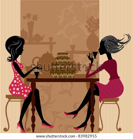 tea in the cafe with cake - stock vector