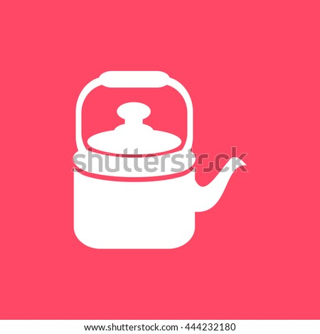 Tea Kettle icon on magenta color background. Eps-10. - stock vector