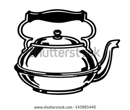 Tea Kettle - Retro Clip Art Illustration - stock vector