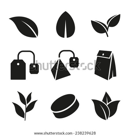 Tea Leaf and Bags Icons Set on White Background. Vector