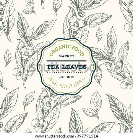 Tea leaves design template. Vector seamless pattern with hand drawn sketch. Vintage floral background isolated on white. Vector illustration. - stock vector