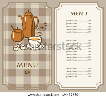 tea menu with kettle and cup