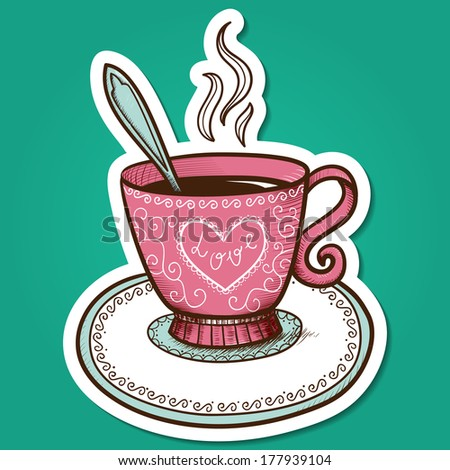 Tea or coffee cup with heart. Paper sticker imitation. Vector card concept. Romantic tender design - stock vector