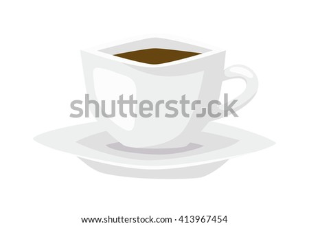 Tea or coffee empty vector cup. Single handle espresso cup breakfast food and ceramic white flat cup. White coffee cup or tea drink cafe morning beverage kitchen accessory flat coffee cup - stock vector
