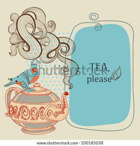 Tea or coffee vector panel with decorative bird - stock vector