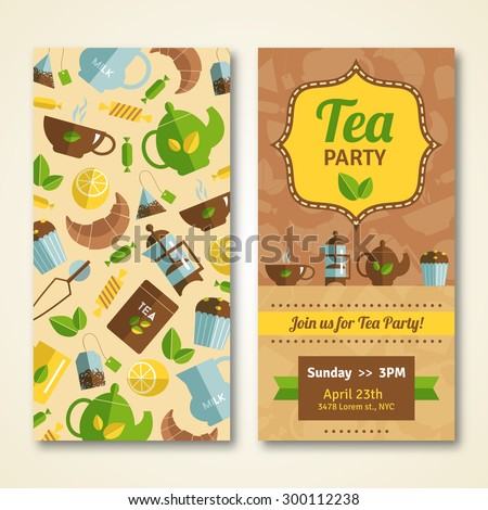 Tea party announcement two banners with  teapot cupcake and event date and time abstract isolated vector illustration. Editable EPS and Render in JPG format - stock vector