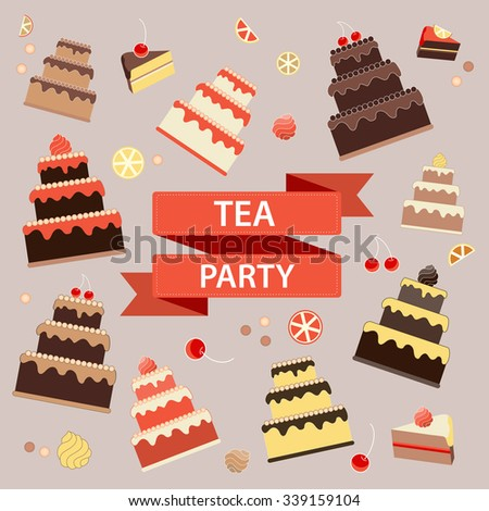 Tea party banner. Sweets, Cakes, Candies, Fruits vector illustration.