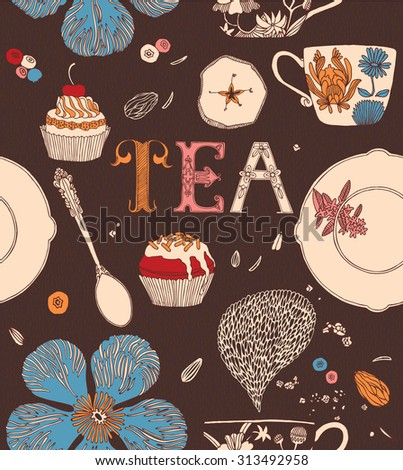 Tea party card. Teacups with flowers and sweets. Seamless pattern. - stock vector