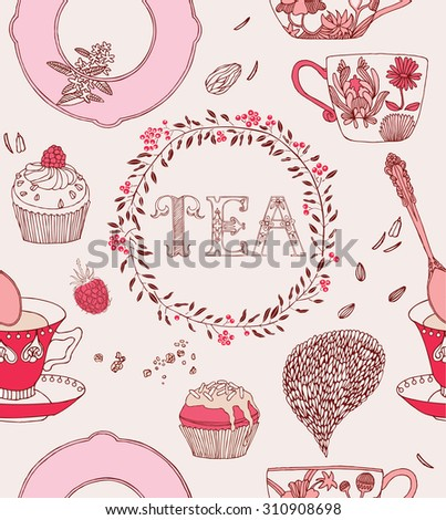 Tea party card. Teacups with flowers and sweets. Vector illustration.  - stock vector