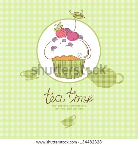 tea party card with cupcake - stock vector