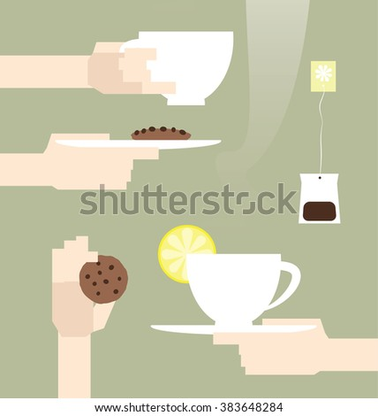 Tea party elements. Beautiful vector drawing of human hands holding cups of hot tea and cookies. Modern graphic of decorative design elements. - stock vector