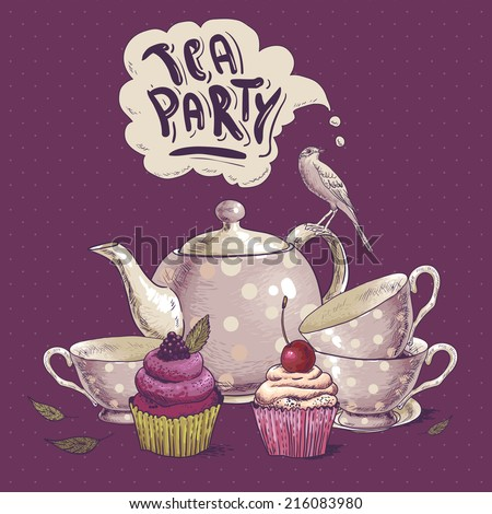 Tea party invitation card with a Cups, Cupcake, Bird and Pot  - stock vector