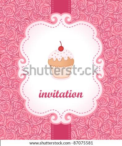 Tea party invitation vintage style frame. Vector illustration. - stock vector