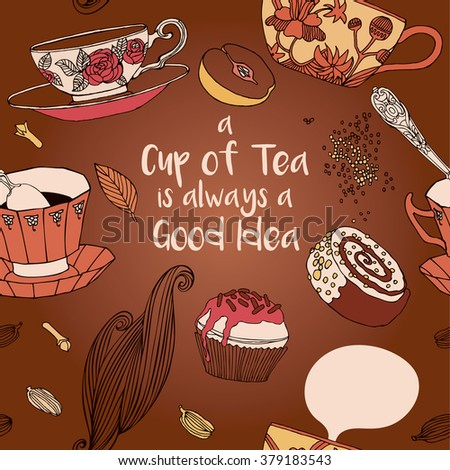 Tea party invitation with cups and cupcakes. Vector card.