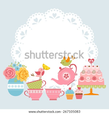 Tea Party Invitation Stock Images RoyaltyFree Images  Vectors