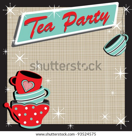 Tea Party Invitation with stacked colorful tea cups in a retro style