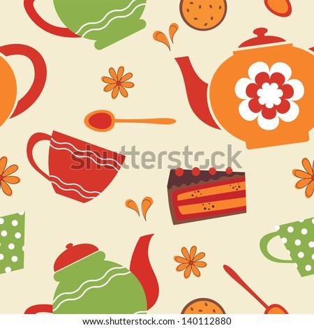 Tea party seamless pattern. Vector illustration - stock vector