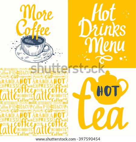 Tea party set with seamless background and sketch. Hot drinks menu. Vector Illustration with cup, teapot and pattern. Decorative elements for your packing design. Multicolor decor. - stock vector