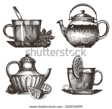 tea party vector logo design template. drink or food icon. - stock vector