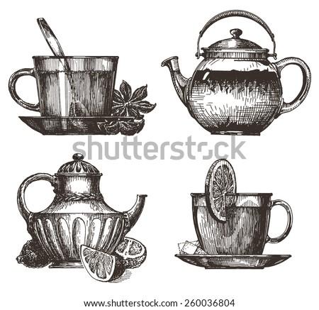 tea party vector logo design template. drink or food icon. - stock vector