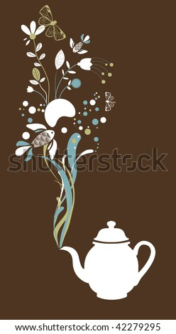 Tea pot on brown background - stock vector