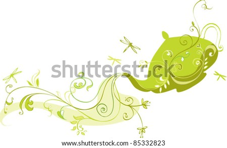 Tea pot pouring herbal tea - stock vector