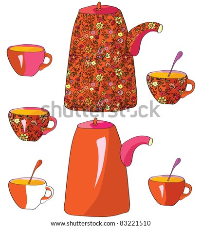 Tea pots and cups with pattern - stock vector