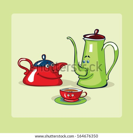 Tea pots family.