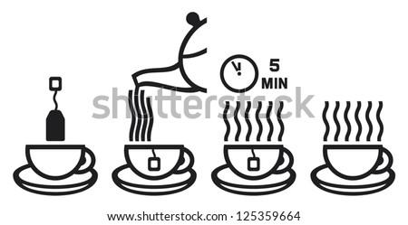 tea preparation ceremony (making tea icon, vector set of tea cup icons) - stock vector