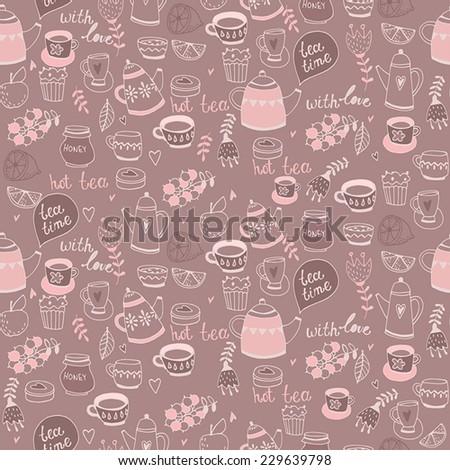 Tea seamless background. Tea time. - stock vector