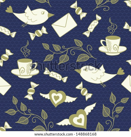 Tea seamless background with birds. Vector illustration.