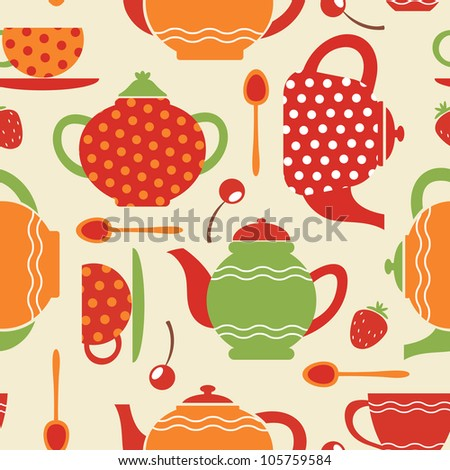 Tea seamless pattern - stock vector