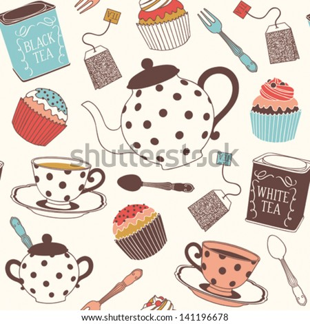 Tea seamless pattern - stock vector