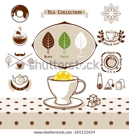Tea set collection - stock vector