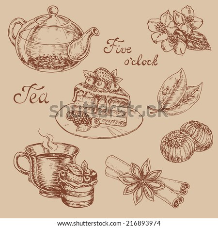 tea set elements. hand drawn vector illustration