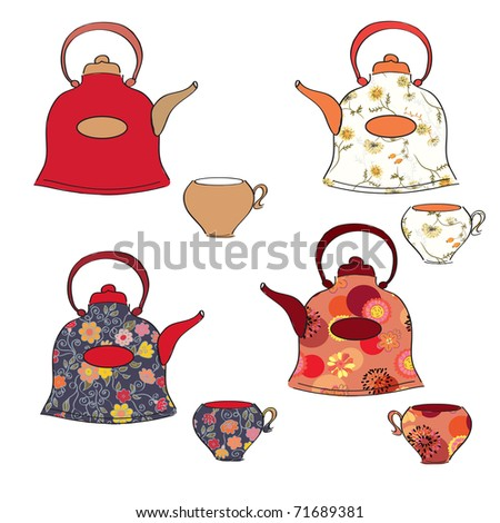 Tea set of pots and cups with floral pattern - stock vector