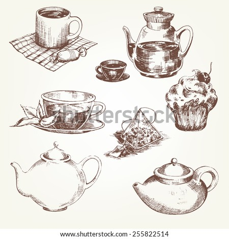 Tea set. Pen sketch converted to vectors. - stock vector