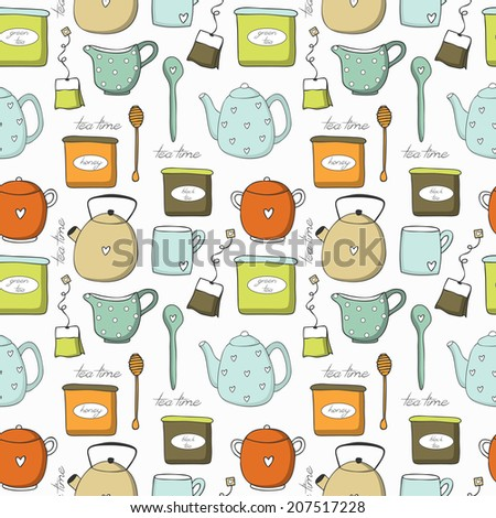 Tea set. Seamless pattern. Used for wallpaper, pattern fills, web page background,surface textures.