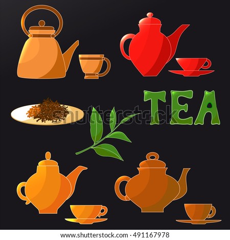 Tea set. Teapot, Cup, label, tea leaves, vector illustration
