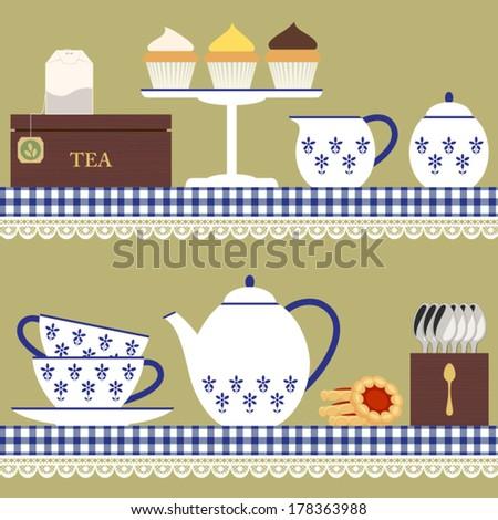 Tea set with teabag, cupcake and cookies - stock vector