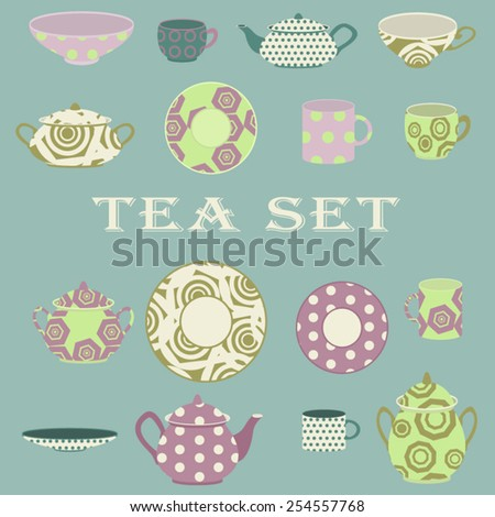 Tea set with teacups, teapots, saucers on blue background. - stock vector