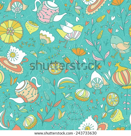 Tea,sweets, bird and flowers. Seamless doodle pattern.  - stock vector