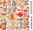 Tea,sweets seamless doodle pattern. Copy that square to the side and you'll get seamlessly tiling pattern which gives the resulting image the ability to be repeated or tiled without visible seams. - stock photo