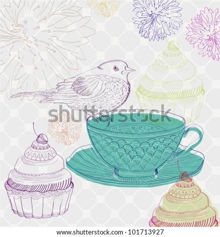 tea time background with cupcakes and bird, beautiful vector illustration