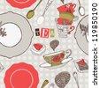 tea time card - stock vector