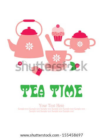 tea time card design. vector illustration