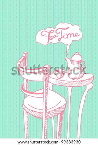 Tea time cards with vintage illustration - stock vector