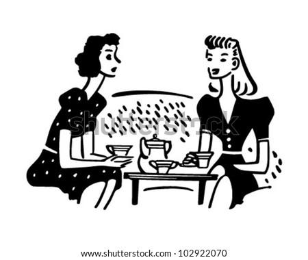 Tea Time Chat - Retro Clipart Illustration - stock vector